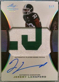 2015 Leaf Trinity Jeremy Langford patch auto silver prismatic