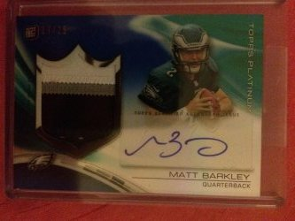 2013 Topps Platinum Matt Barkley Autograph Rookie Refractor Patch