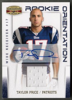 2010 Panini Gridiron Gear Rookie Orientation Jerseys Autographs Taylor Price