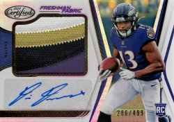 Devin Duvernay 2020 Panini Certified Freshman Fabric RC Patch Autograph 286 of 499