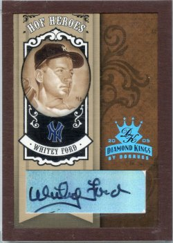 2005 Donruss Diamond Kings Whitey Ford HOF Heroes Signature Framed Platinum B&W