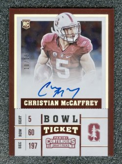 2017 Panini Contenders Draft Picks Bowl Ticket #107A Christian McCaffrey/25 AU RC (red jsy ball in right arm)