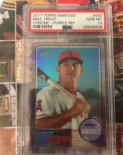2017 Topps Heritage Chrome Purple Mike Trout