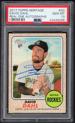 2017   David Dahl Topps Heritage Real One Blue Ink Auto RC #2