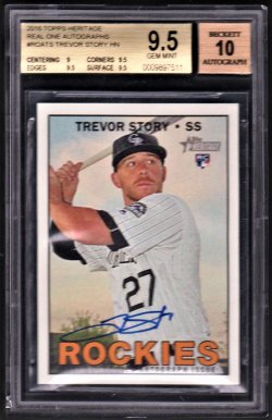 2016   Trevor Story Topps Heritage Real One Blue Ink Auto RC BGS 9.5/10