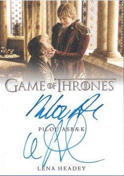2020  Rittenhouse Game of Thrones Season 8 Archive Box Exclusives Autographs Dual Lena Headey / Pilou Asbæk