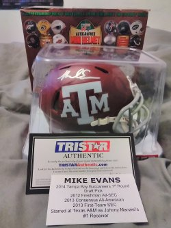 2015  Tri*Star Autographed Mini Helmet Mike Evans Texas A&M Autograph Speed Mini Helmet