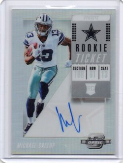 2018 Panini Optic Contenders Michael Gallup Rookie Ticket