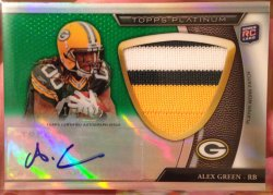 2011 Topps Platinum Alex Green Rookie Patch Auto Green Refractor