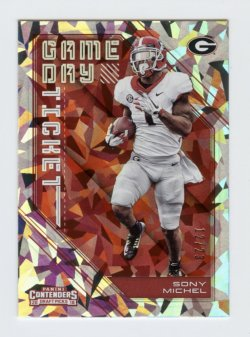 2018 Panini Contenders Draft Picks Game Day Tickets Cracked Ice #16 Sony Michel/23