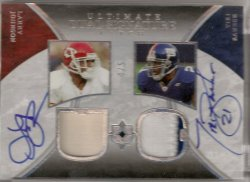 2006 Upper Deck Ultimate Collection Tiki Barber & Larry Johnson Dual Signature Patch