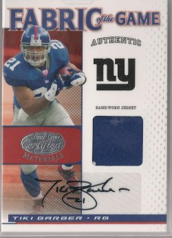 2007 Leaf Certified Materials Tiki Barber Fabric of the Game