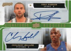 2008-09 Upper Deck MVP Tony Parker / Chauncey Billups - Signatures Required