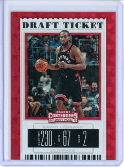 2019-20 Panini Contenders Draft Picks Kawhi Leonard Variation Draft Hyper Ticket