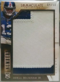 2014 Panini Immaculate Odell Beckham Jr numbers jumbo patch