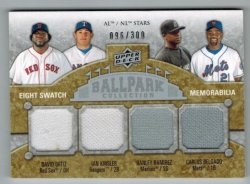 2009 Upper Deck Ballpark Heroes Ortiz/Kinsler/HRamirez/Delgado/Mora/Hafner/Escobar/Hall