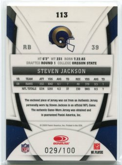 2009 Panini Certified Steven Jackson Mirror Blue Materials Back
