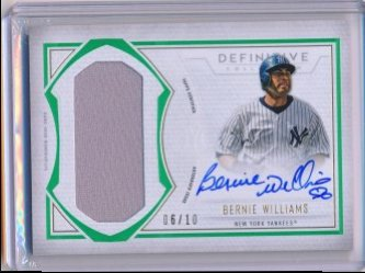 Bernie Williams 2019 Topps Definitive Collection Definitive Autograph Relics Green /10