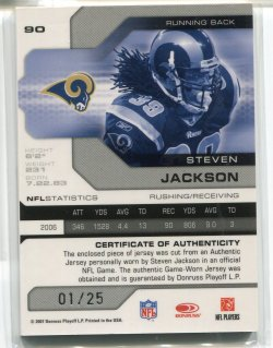 2007 Leaf Limited Steven Jackson Patches Back