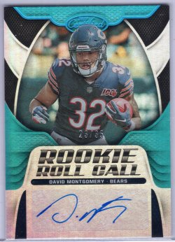 2019 Panini Certified David Montgomery Rookie Roll Call Signatures Mirror Teal