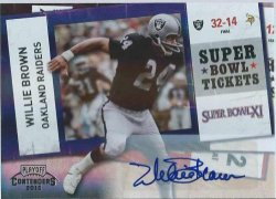 2010 Panini Contenders Willie Brown  Super Bowl Tickets