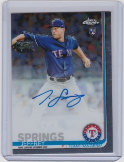 2019 Jeffrey Springs Topps Chrome  On-Card Auto RC   Rangers A8894