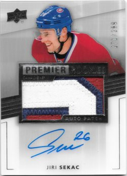 2014-15 Upper Deck Premier Rookie Auto Patch Jiri Sekac