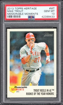 2013   Mike Trout Topps Heritage Memorable Moments Insert PSA 10
