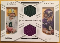 2015 Panini Clear Vision Brett Favre Clear History Dual Jersey