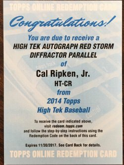 2014 Topps Hi Tek Cal Ripken Jr auto red storm