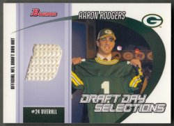 2005 Bowman Draft Day Selections Relics Aaron Rodgers