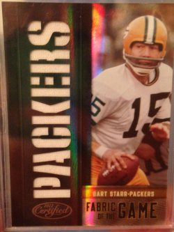 2012 Panini Certified  Bart Star Fabric of the Game Team Name Die Cut