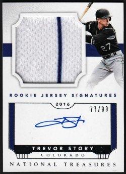 2016   Trevor Story National Treasures Rookie JSY Signatures 2-CLR RPA /99