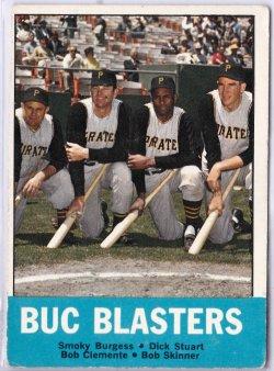 1963 Topps Buc Blasters Smoky Burgess / Dick Stuart / Roberto Clemente / Bob Skinner