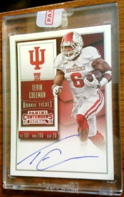 2015 Tevin Coleman Contenders College Variation SSP On-Card Auto RC    Indiana A5671