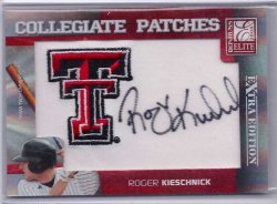 2008 Donruss Elite Extra Edition Collegiate Patch Autograph Roger Kieschnick
