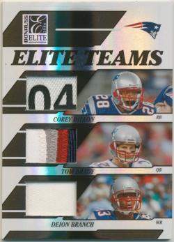 2006 Donruss Elite Elite Teams Jerseys Prime Corey Dillon/Tom Brady/Deion Branch