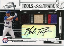 2005 Playoff Absolute Memorabilia Mark Teixeira TOTT Auto Swatch Triple Prime Reverse Black