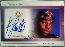 1999 Upper Deck SP Authentic Kevin Faulk players ink purple