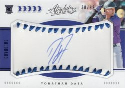 Yonathan Daza 2020 Panini Absolute Rookie Baseball Material Signature Blue 30 of 99