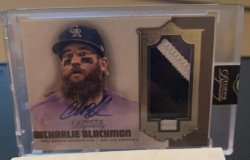2019   Charlie Blackmon Topps Dynasty Gold Parallel 3-CLR Patch Auto /10