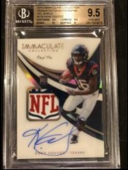 2018 Panini Immaculate Collection Rookie Patch Autographs NFL Shield #129 Keke Coutee