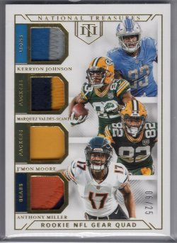2018 Playoff National Treasures Anthony Miller Rookie NFL Gear Quad Materials Prime