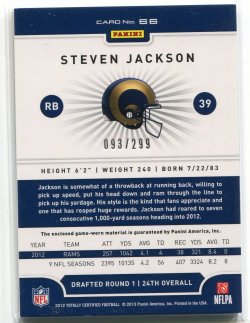 2012 Panini Totally Certified Steven Jackson Red Jersey