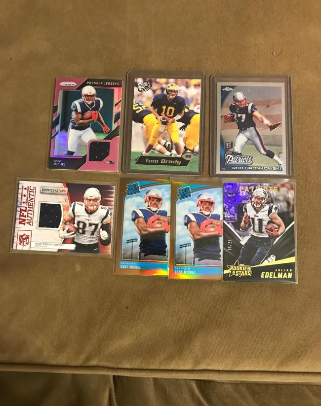 Quicksale 7 Card Patriots Lot Brady Rc Gronk Rc Michel