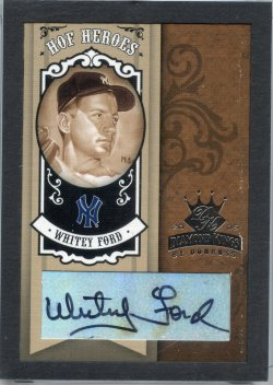 2005 Donruss Diamond Kings Whitey Ford HOF Heroes Signature Framed Black Platinum B&W