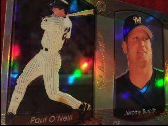 2000 Bowman UNCUT ReFractors PAUL ONEILL #77 JEROMY BURNITZ #87 Brewer OF