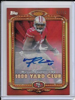 2013 Topps Chrome 1000 Yard Club Red Refractor Autograph - Michael Crabtree