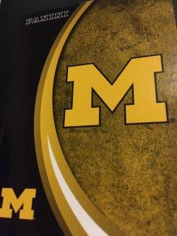 "2015 Panini Michigan Wolverines  #6 The MICHIGAN Block ""M"" LOGO Colored in Maize"