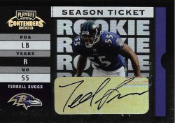 2003 Playoff Contenders Terrell Suggs 2003 Playoff Contenders RC Autograph 286 of 564